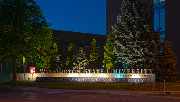 West entrance to Riverpoint campus by Zach Mazur