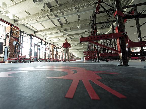 WSU football building weight room