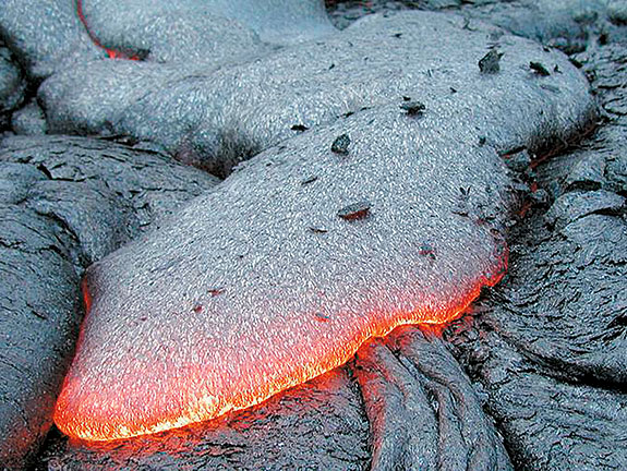 Active basalt lava flow