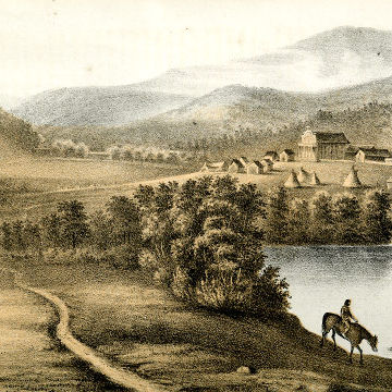 Sohon lithograph of Cataldo Mission