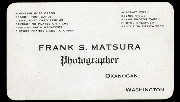 Business card of Frank Matsura