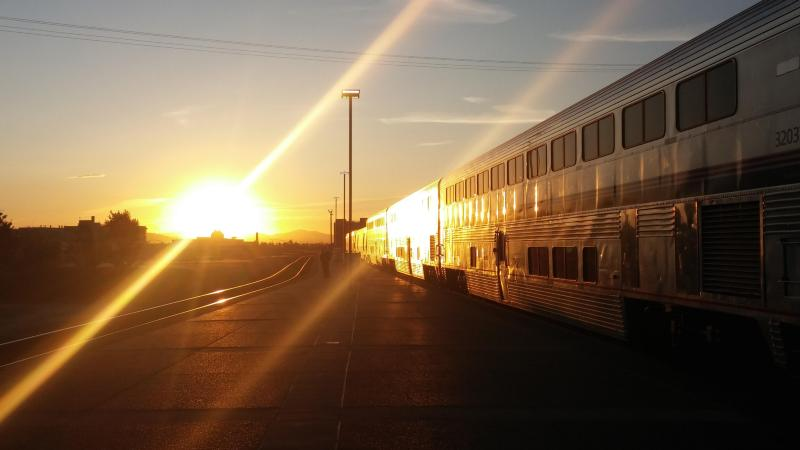 Train at sunrise