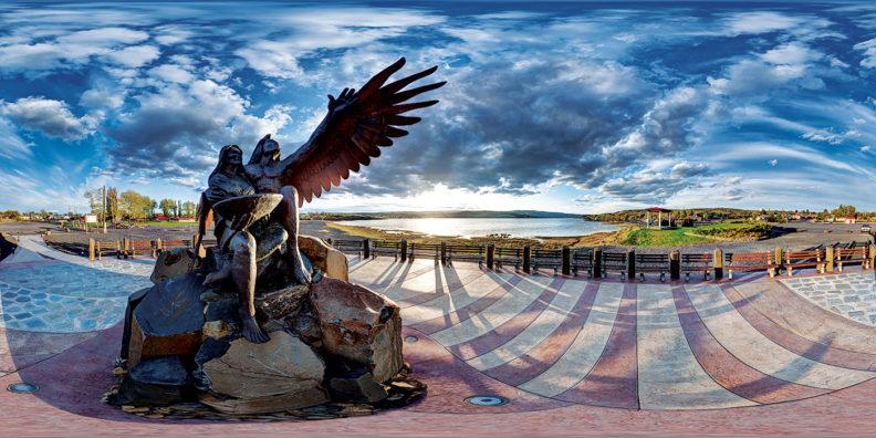 Sundial sculpture at Soap Lake