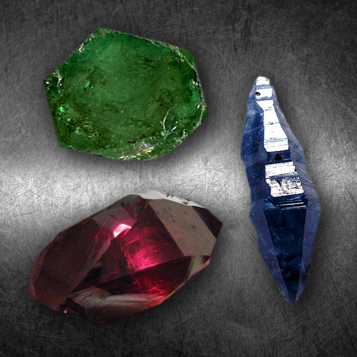 Industrial sapphire, ruby, emerald crystals