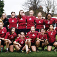 WSU women's rugby team in England