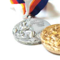 A pair of Tom Jager's Olympic medals