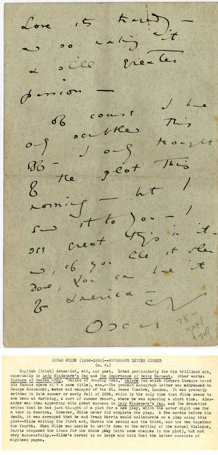 Letter from Oscar Wilde