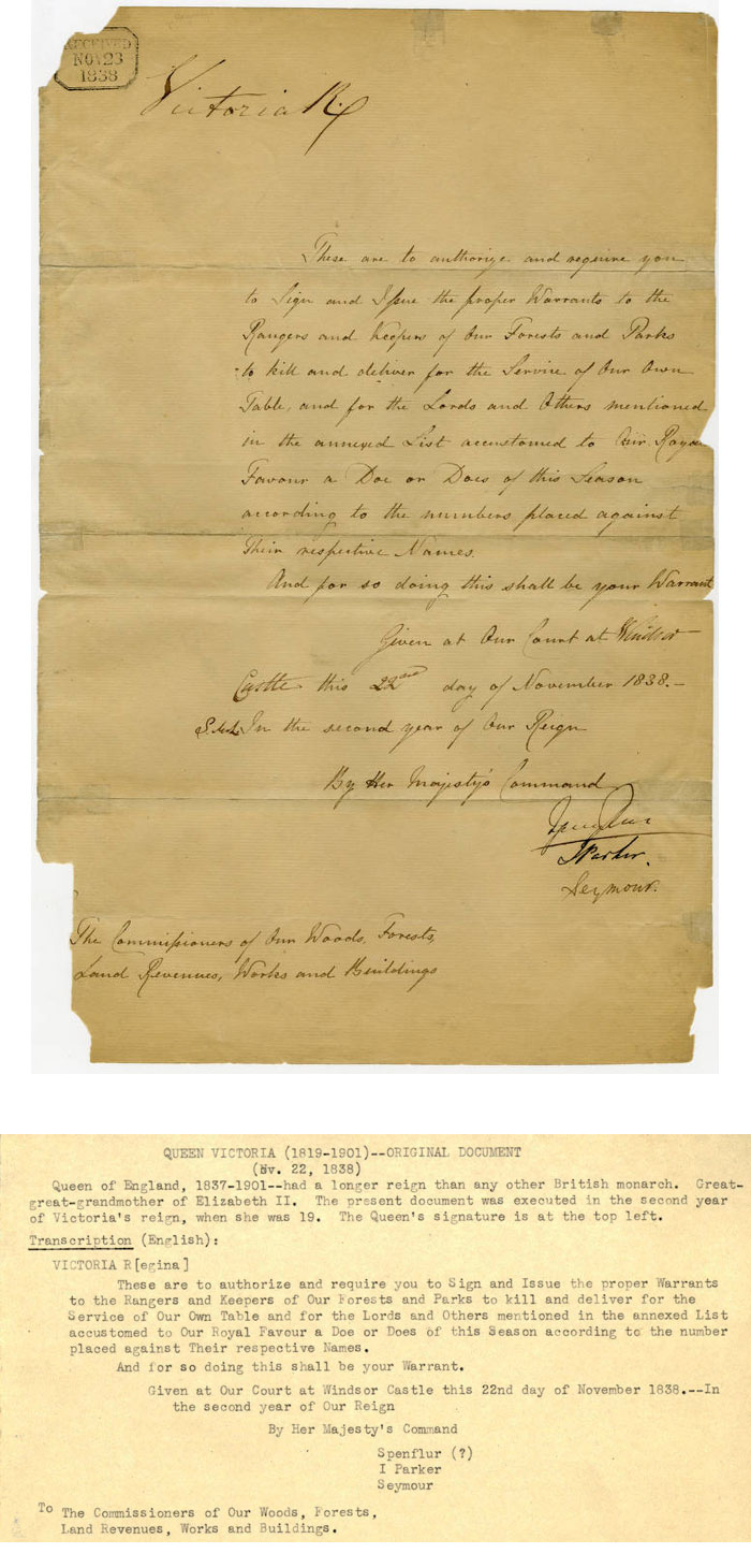 Document from Queen Victoria