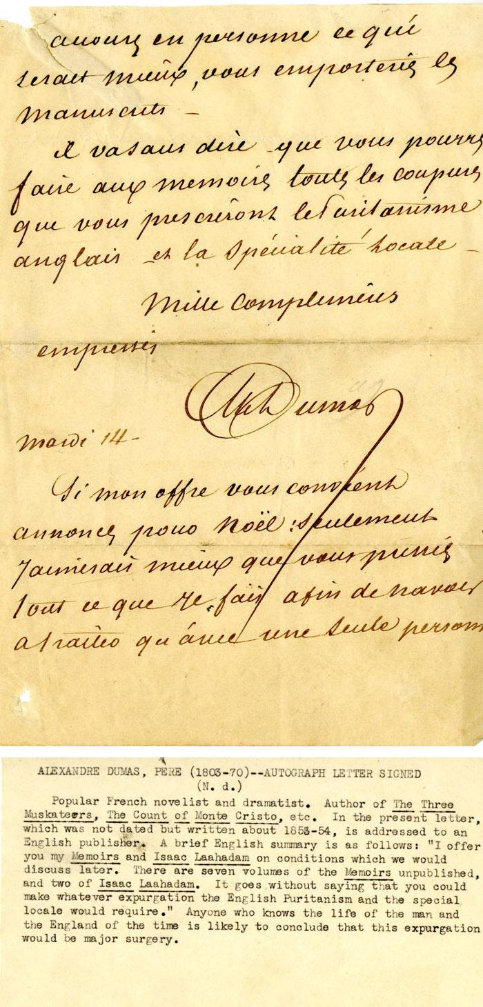 Letter from Alexandre Dumas
