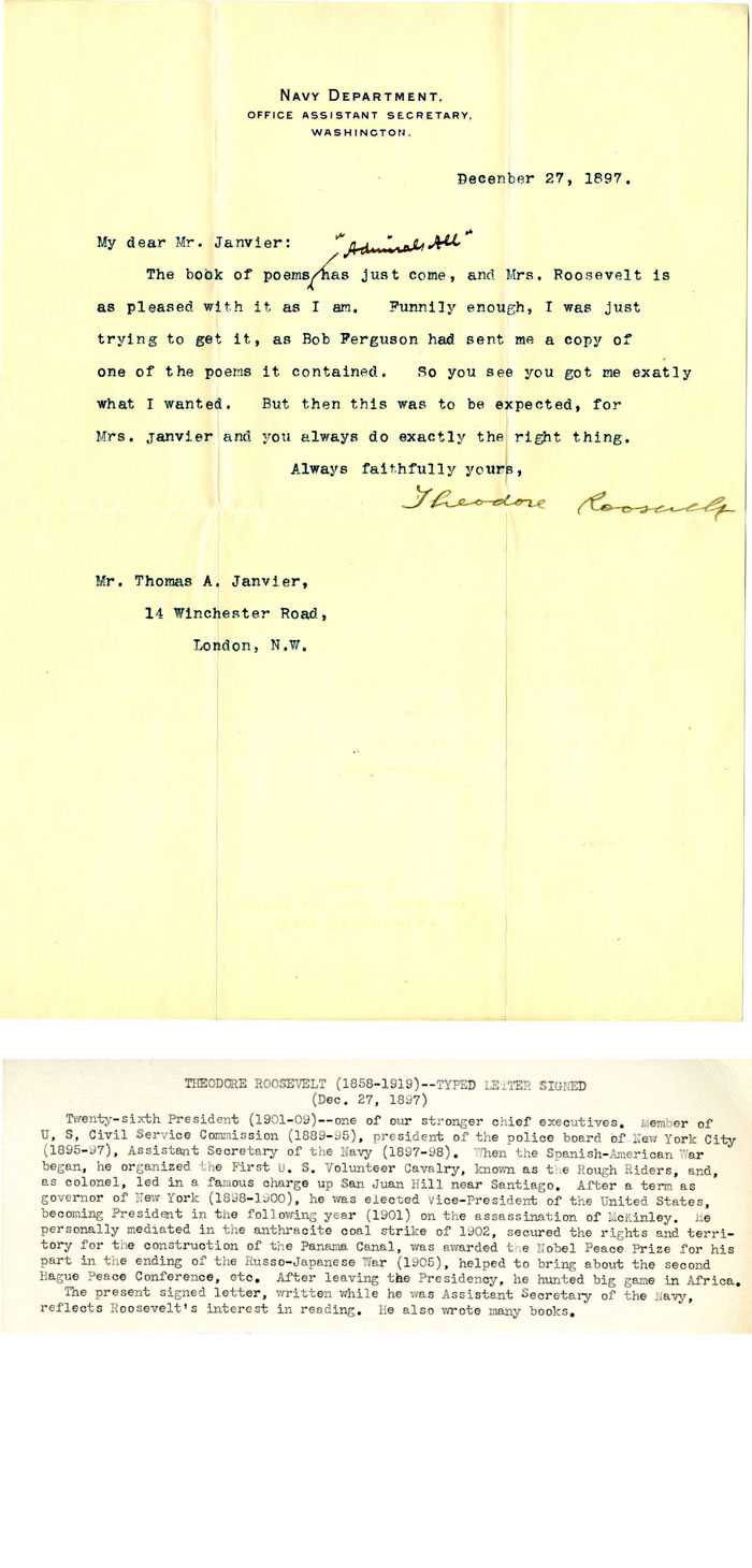 Letter from Theodore Roosevelt
