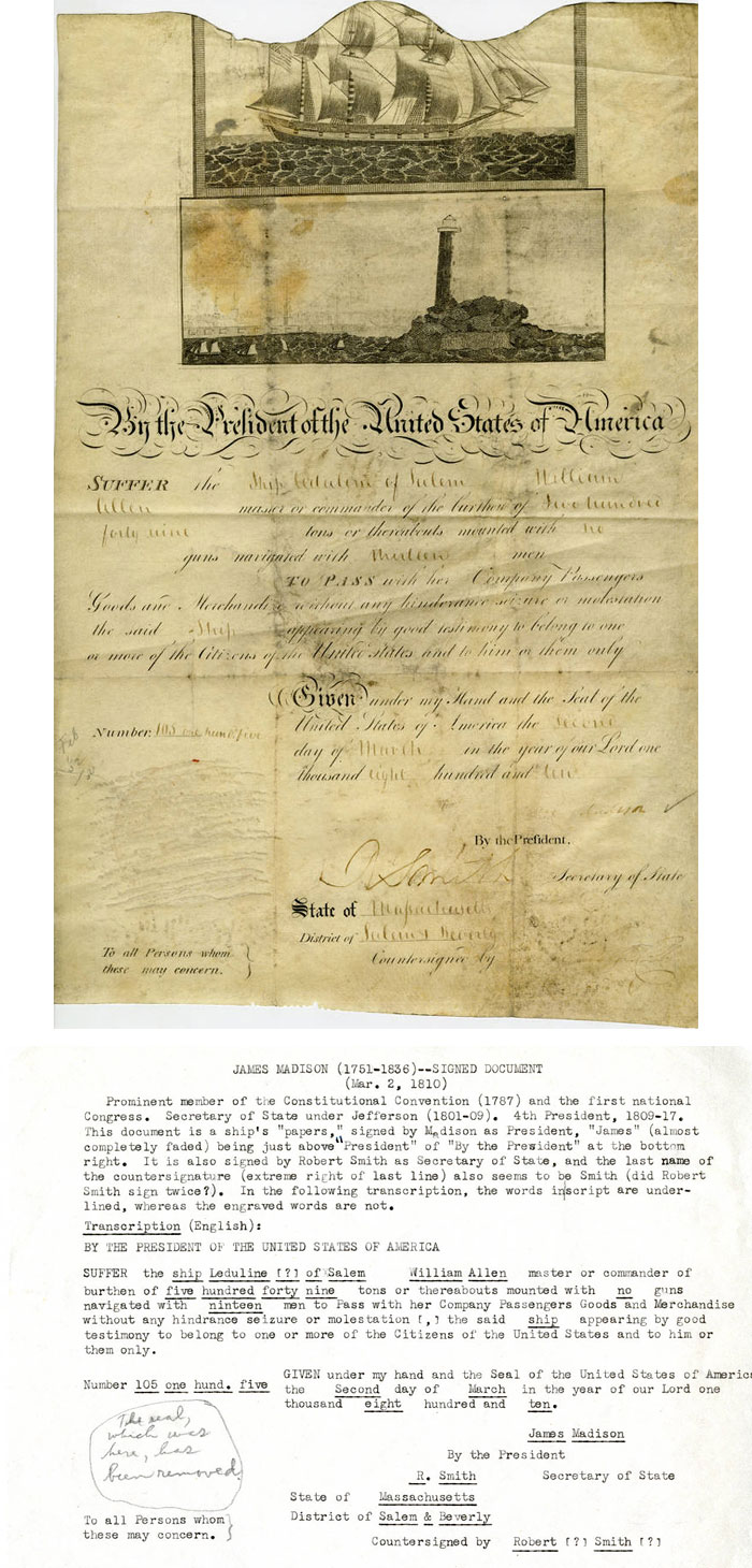 Ship's papers signed by James Madison