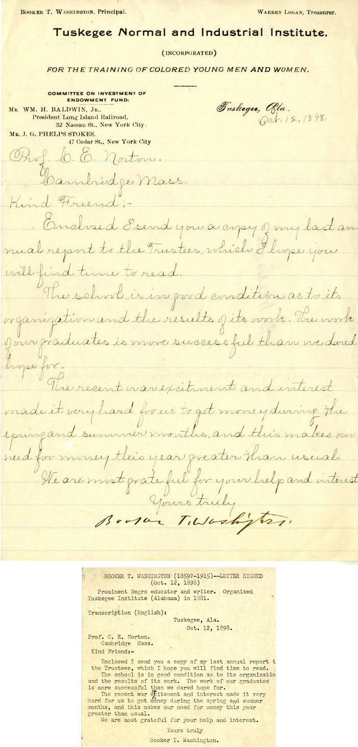 Letter from Booker T. Washington