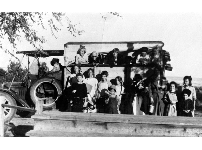 First School Bus in White Bluffs, 1934