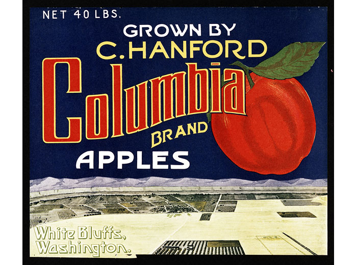 C. Hanford Columbia Brand Apples Box Label, White Bluffs, 1935