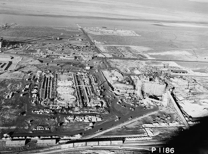 Aerial view of the 100-B Area under construction in January 1944