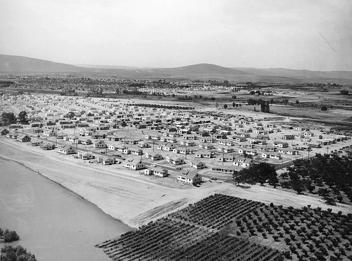 The government town of Richland, Washington, in the early days of the Hanford site