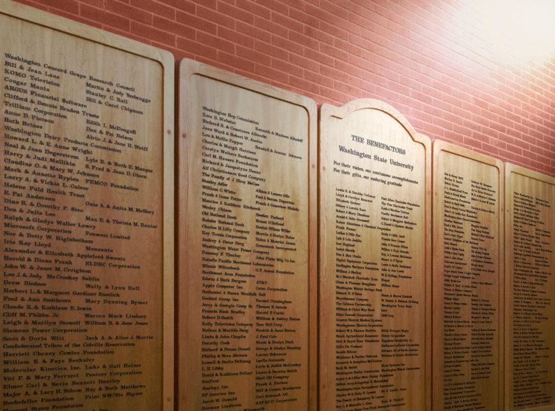 WSU Benefactors recognition plaques