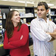 Omar Cornejo and Joanna Kelley in their WSU lab