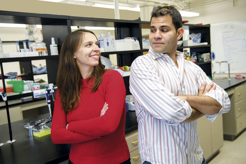 Omar Cornejo and Joanna Kelly in their WSU lab