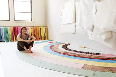 Artist Marie Watt in her New York studio, 2012