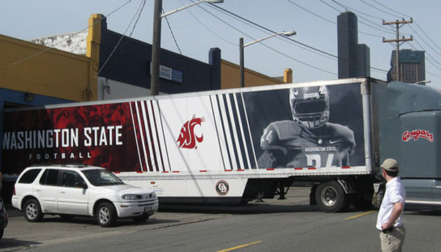 WSU semi-truck with logo