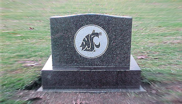 WSU logo on gravestone