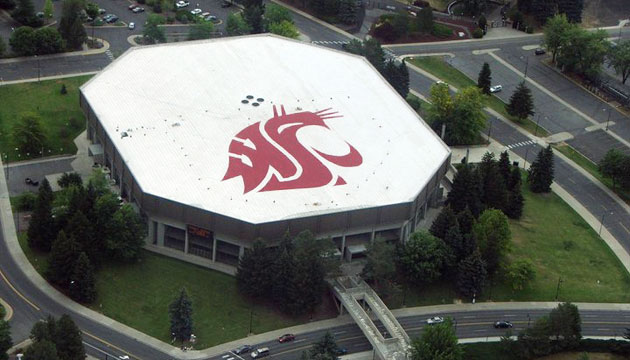 WSU logo on roof of Beasley Coliseum