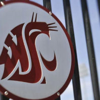 WSU logo on fence at Martin Stadium