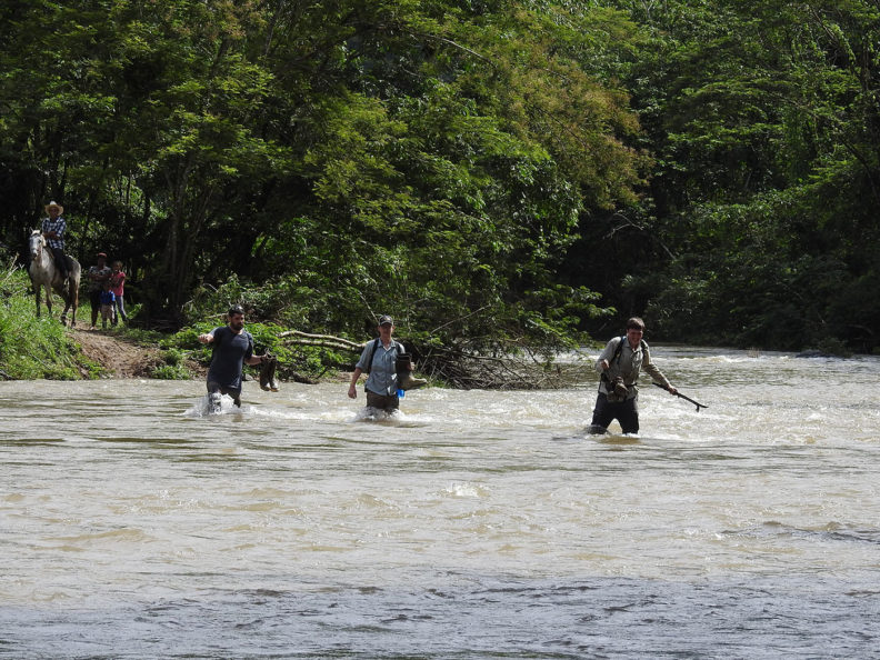 Crossing a river in Honduras