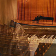 Kimbrough Hall piano with image of woman playing overlaid