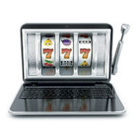Illustration of laptop as a slot machine