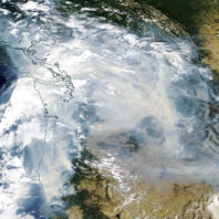 Satellite map showing smoke covering the entire state of Washington on September 5, 2017