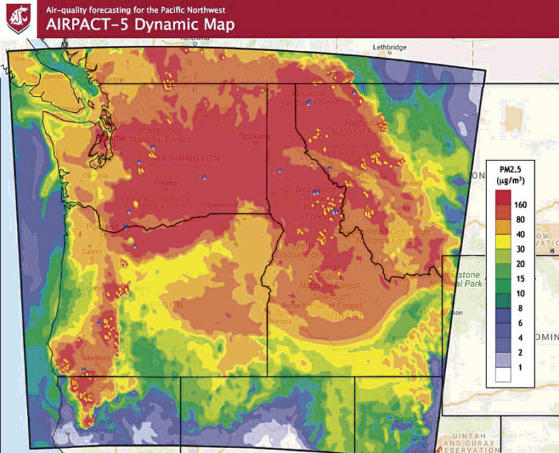 AIRPACT-5 Dynamic Map which forecasts air quality in the Pacific Northwest