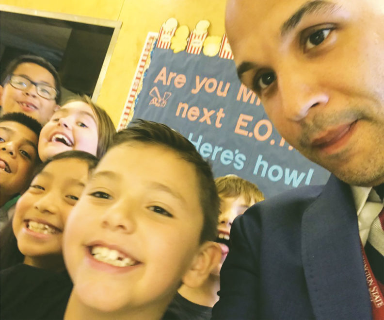 Superintendent Damien Pattenaude with Renton students