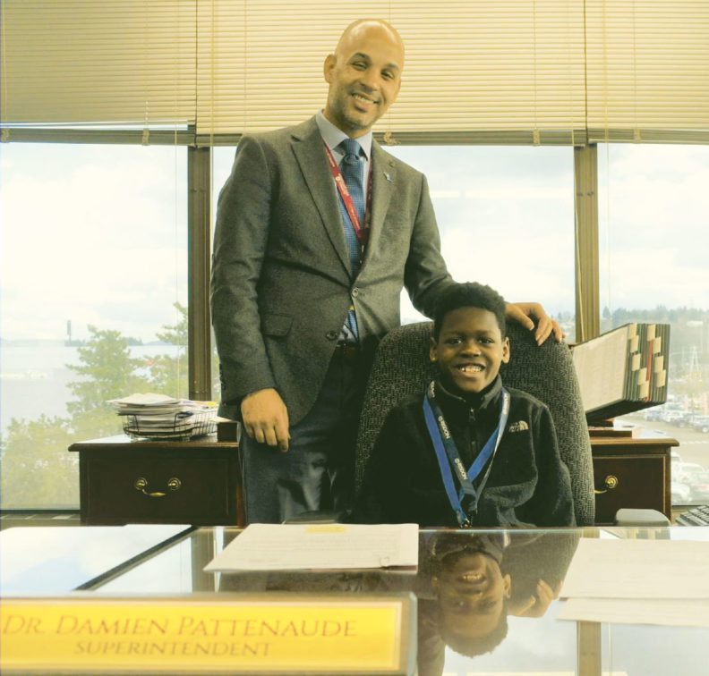 "Damien Pattenaude with ""Superintendent for a Day"" Raymier Peterson"