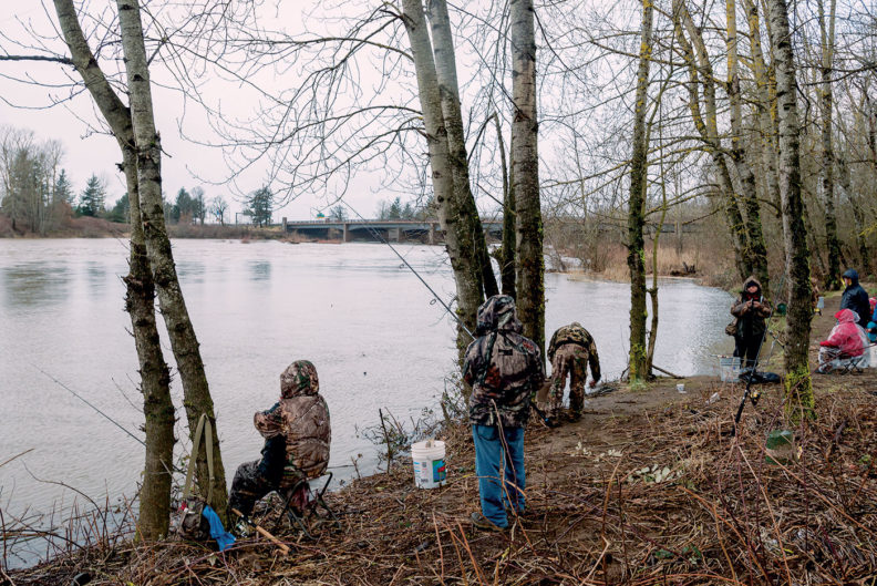 Scene from the Columbia River Gorge - kids fishing
