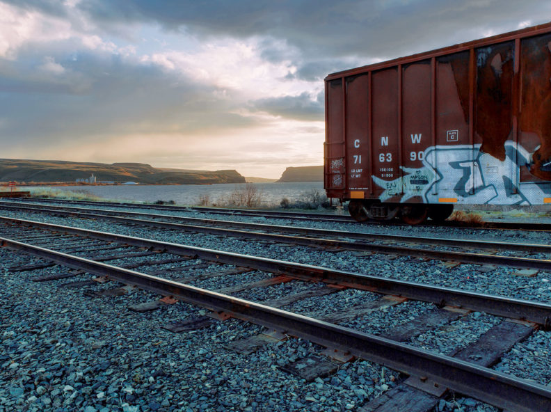 Looking Toward the Wallula Gap - train tracks and freight car