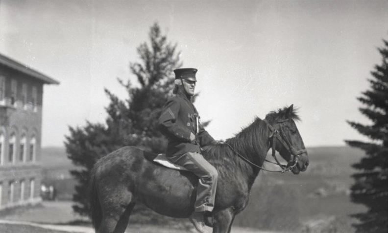 Paul (Simkins) Revere, 1923 on horseback, WSC Pullman