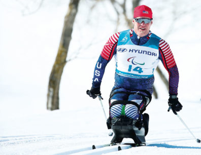 Sean Halsted skiing in 2018 Paralympics in PyeongChange, South Korea