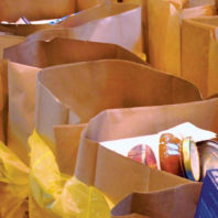 Bags of donated food