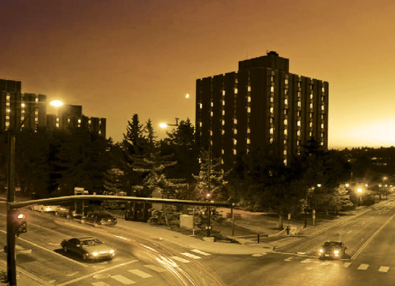 WSU Stephenson Complex at night