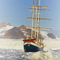 Tall ship Antigua in the Arctic