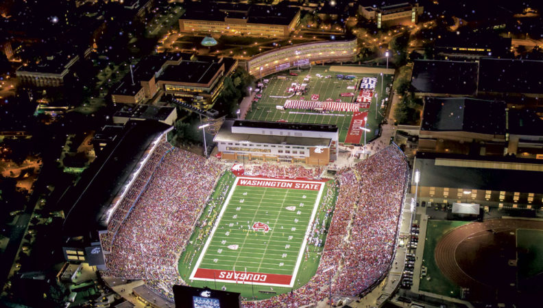 Night game aerial photo of Martin Stadium