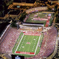 Night game aerial photo of Martin Stadium (Robert Hubner)