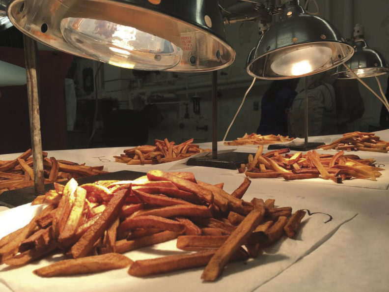French fries ready for tasting at WSU Potato Research Lab (Photo Rachel Webber)