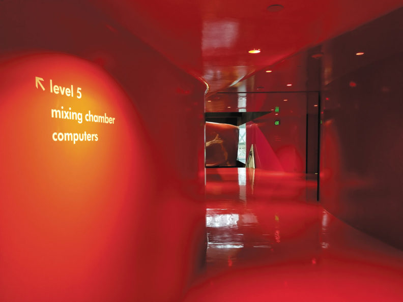 A glimpse down Seattle Public Library's red hallway