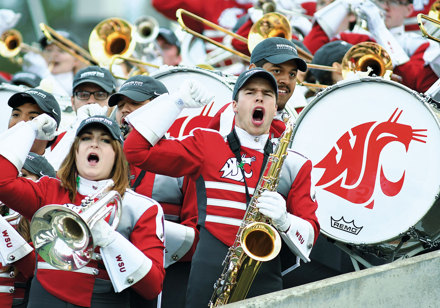 WSU Cougar Marching Band cheering the football team