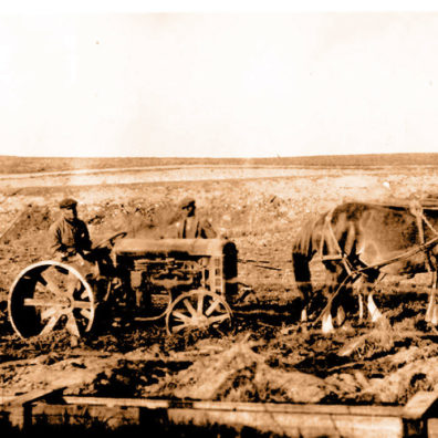 Early tractor helped by horses at WSU Prosser research station