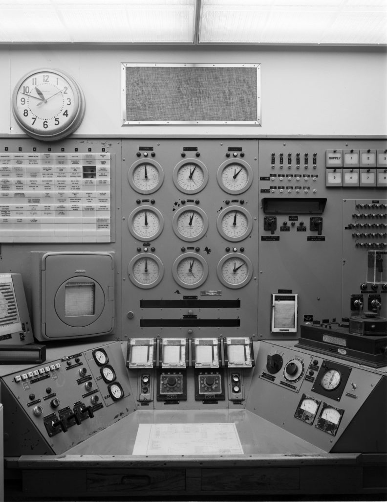reactor operator's console inside B Reactor at Hanford