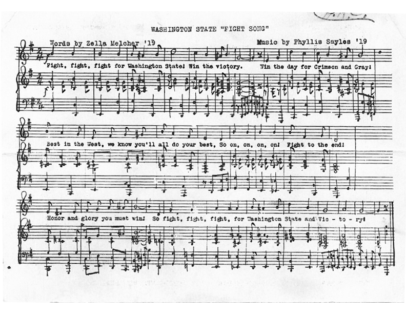 WSU Fight Song original sheet music